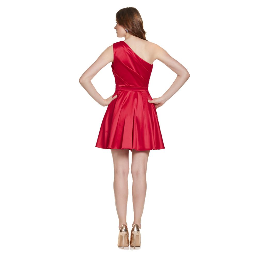 Nicole vestido corto un hombro escarolas