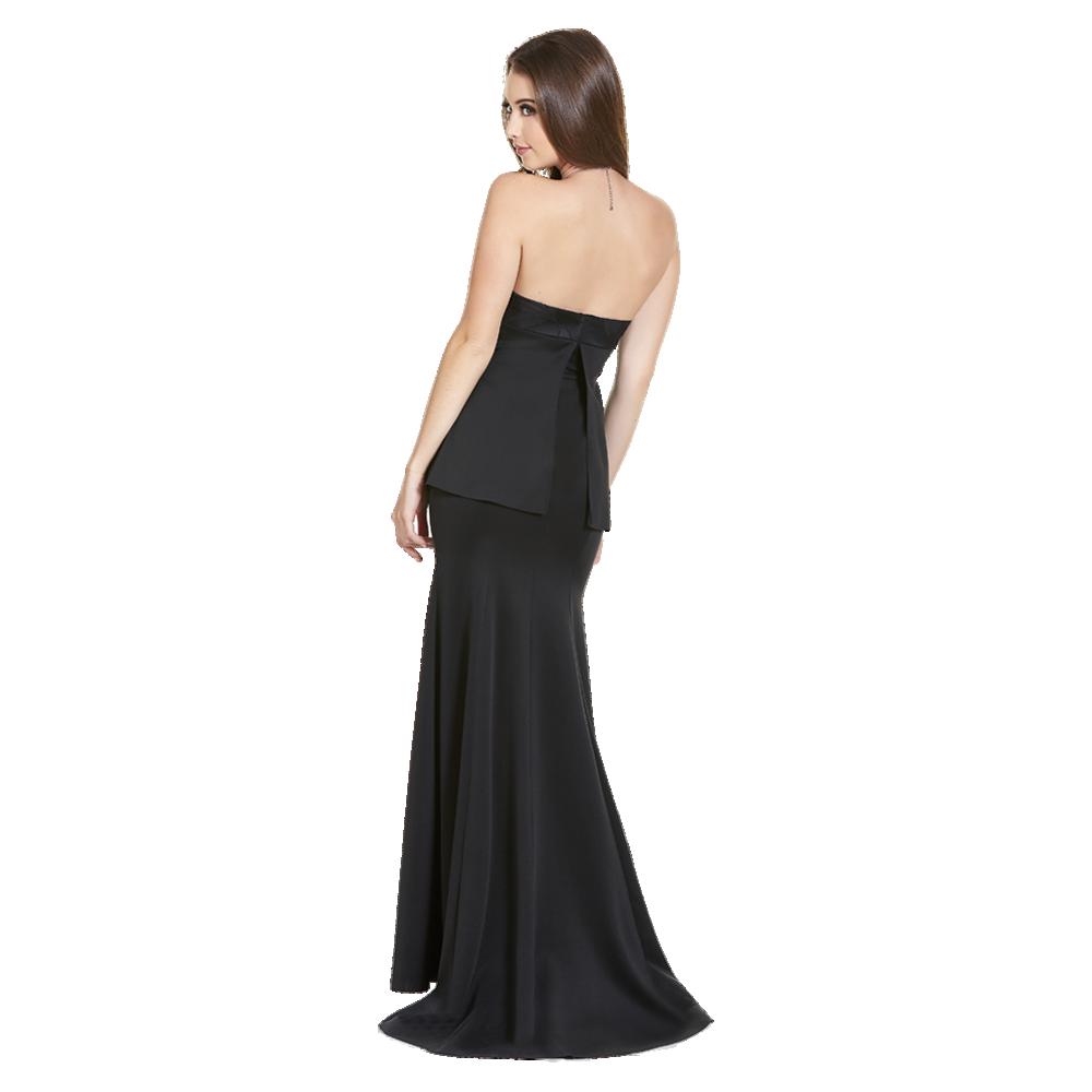 Pamela vestido largo strapless peplum