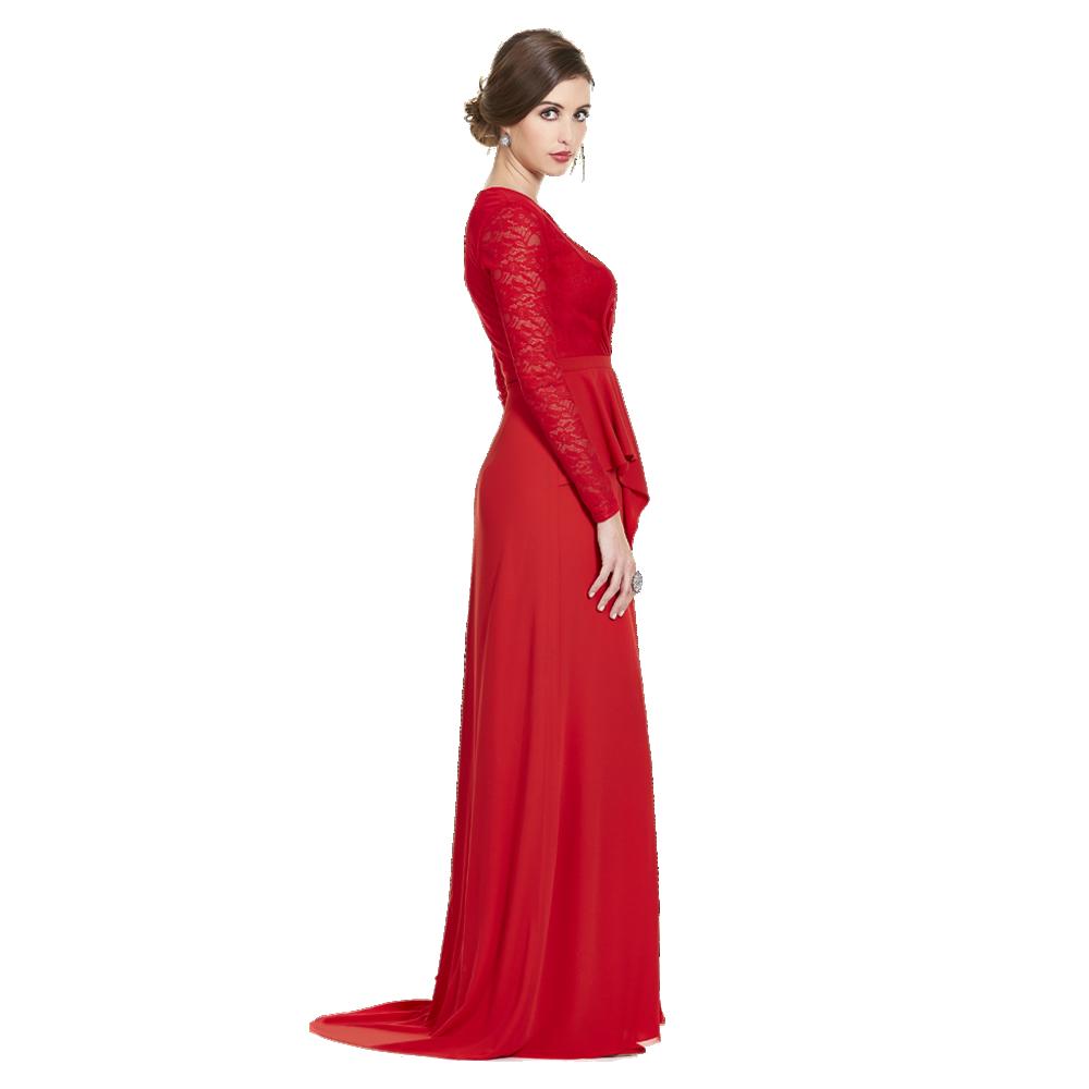 Paulette vestido largo encaje escarola