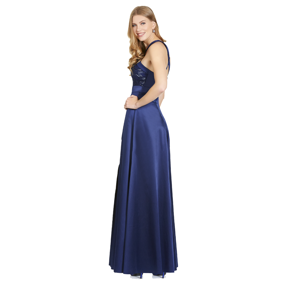 Roxana vestido largo high and low espalda cruzada