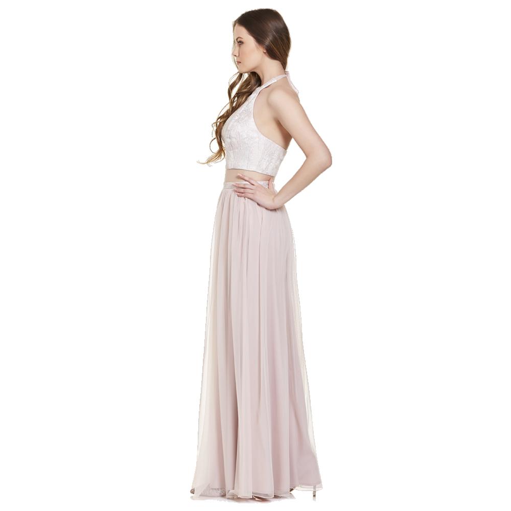 Simone vestido largo crop-top