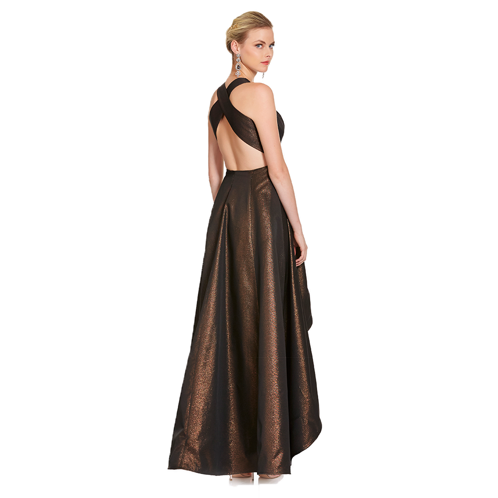 Sonia vestido asimétrico metálico