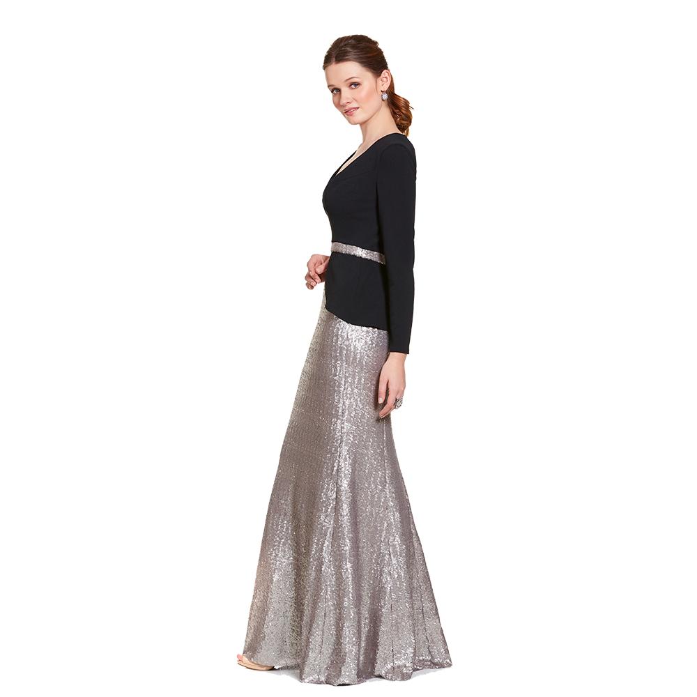 Tara vestido largo de manga larga y lentejuela