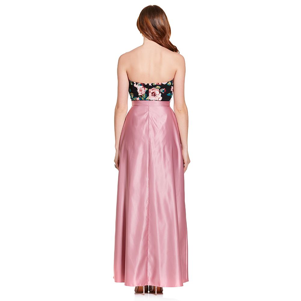 Tiare vestido largo strapless floral