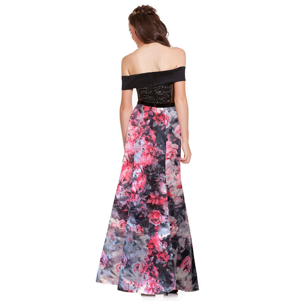 Vera vestido largo off-shoulder lentejuelas