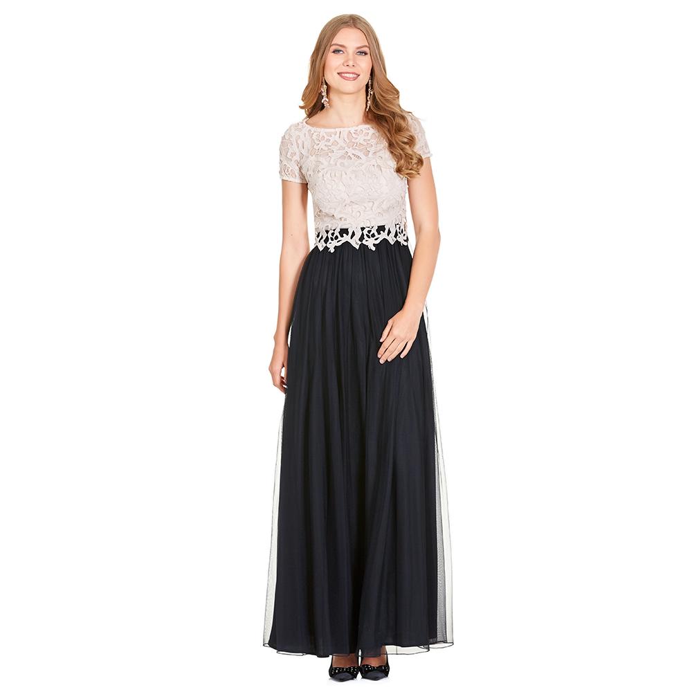 Zaira vestido largo de encaje y plisado