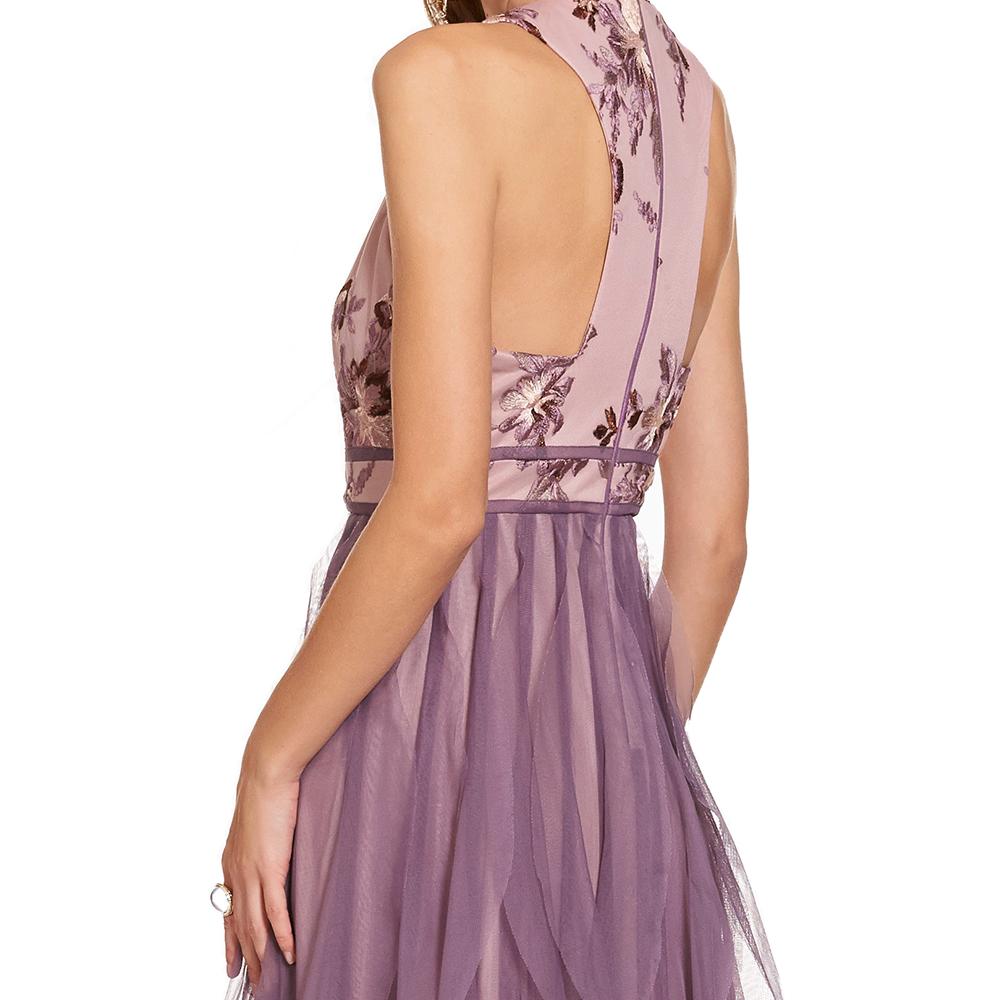Zoe vestido largo floral y escarolas