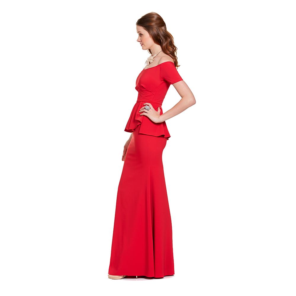 Zuri vestido largo peplum off-shoulder