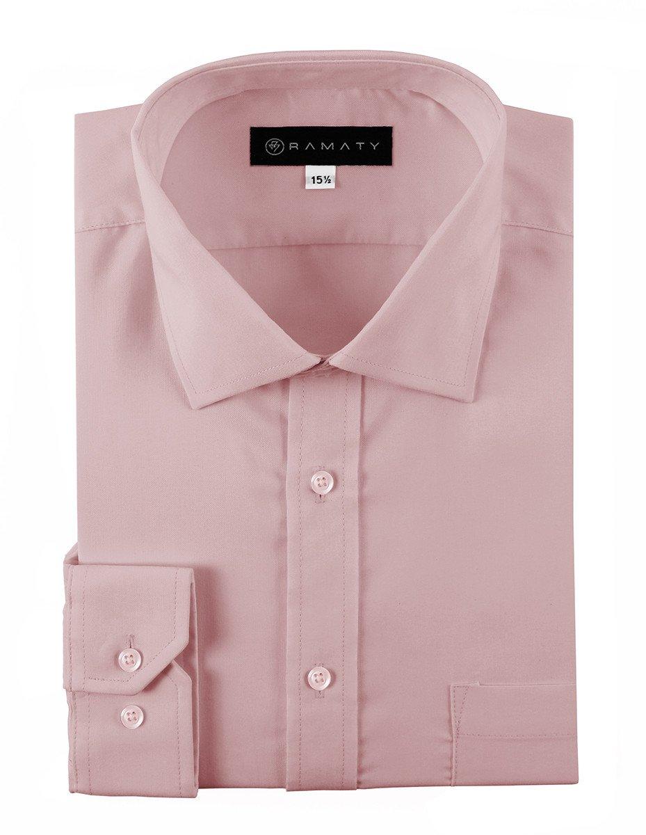 Camisa De Vestir Caballero Lisa Color Palo de Rosa