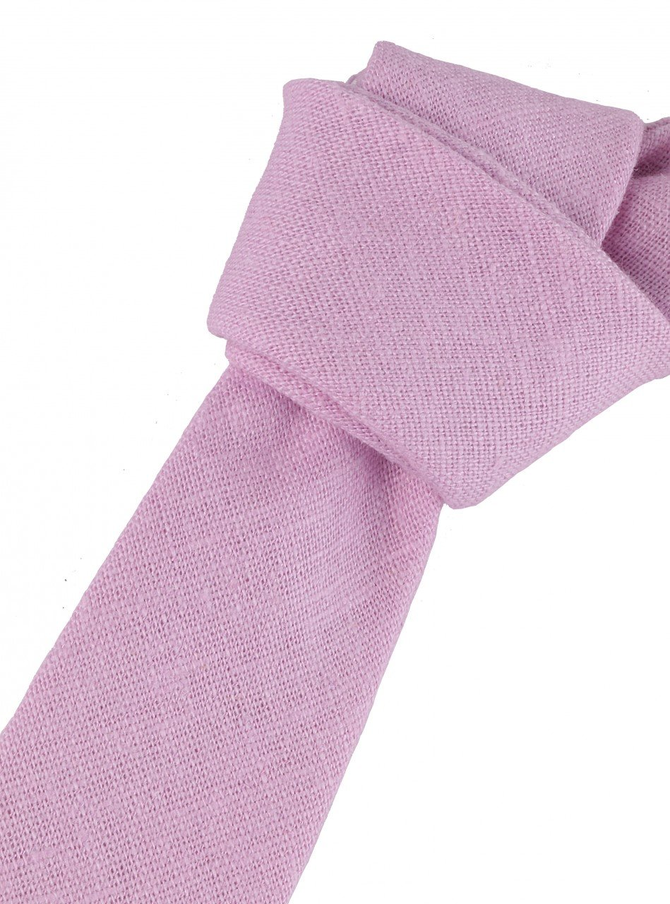 Corbata de lino rosa pastel