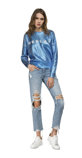 LAMINATED SWEATER WITH REPLAY WRITING