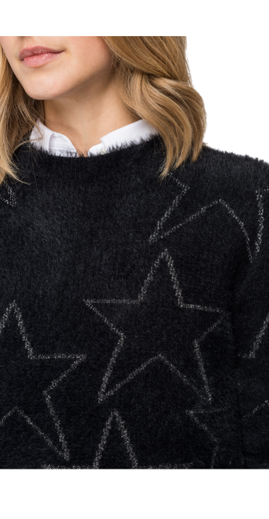 HAIRY PULLOVER WITH ALL-OVER STARS