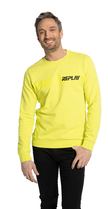 COTTON SWEAT-SHIRT WITH REPLAY PRINT