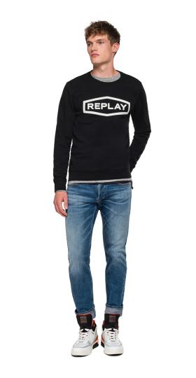Sweatshirt with diamond and REPLAY writing