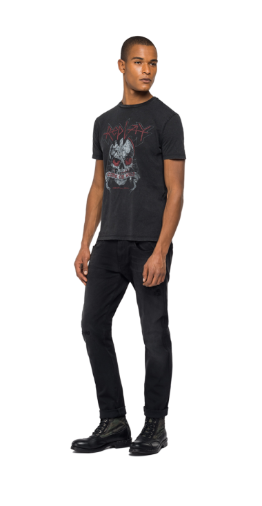 REPLAY ROCK CAPSULE COLLECTION T-SHIRT WITH SKULL