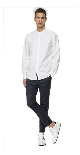Shirt with mandarin collar