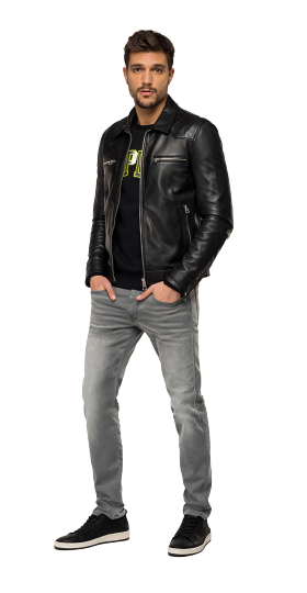 Biker jacket in soft quilted leather
