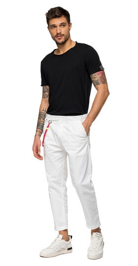 TWILL CHINO TROUSERS WITH CHAIN
