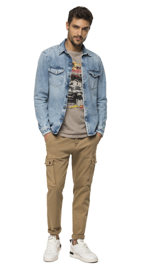 Regular fit denim shirt jacket