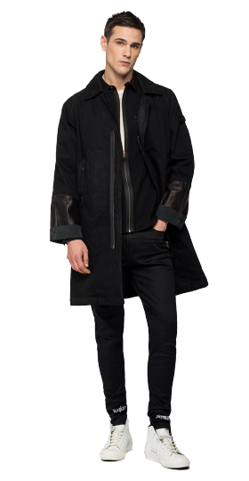 REPLAY NEYMAR NJR CAPSULE COLLECTION DENIM AND LEATHER TRENCH