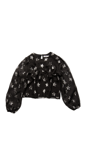CROP SHIRT WITH ALL-OVER LUREX STARS