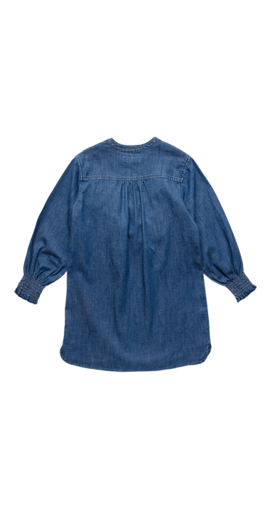 DENIM DRESS WITH FRILLS