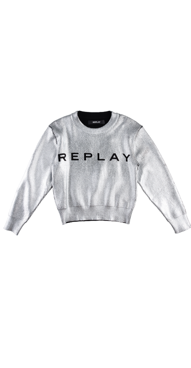 LAMINATED SWEATER WITH PRINT