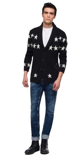 BLACK JACQUARD STARS WHITE CARDIGAN
