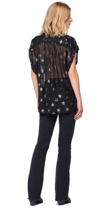 GEORGETTE SHIRT WITH LUREX STARS