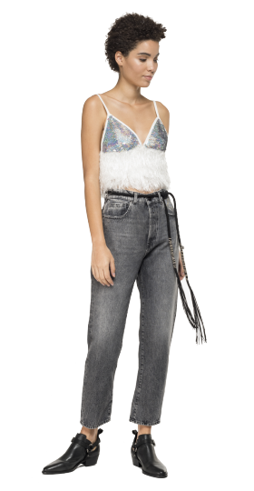 Crop top with sequins and fringes