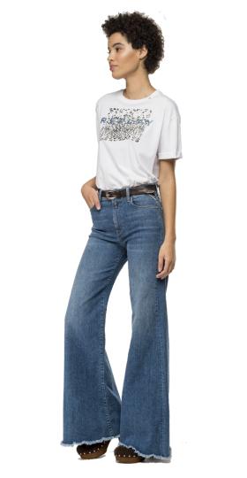T-shirt with glitter animalier print