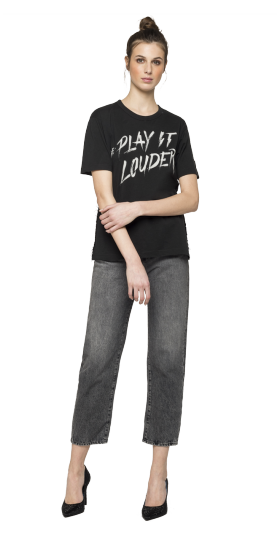 RE-PLAY IT LOUDER FRINGED T-SHIRT