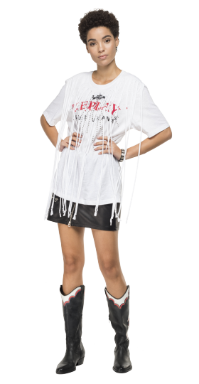 T-SHIRT WITH MAXI FRINGES AND RHINESTONES