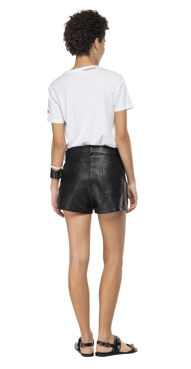 SHORTS PANTS IN HAMMERED LEATHER