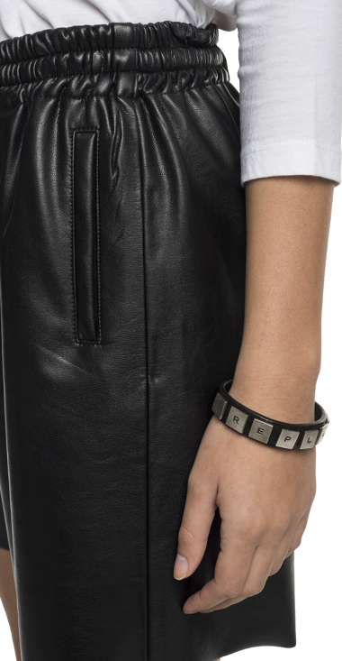 Eco-leather short pants with drawstring
