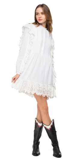MIDI DRESS WITH BRODERIE ANGLAISE