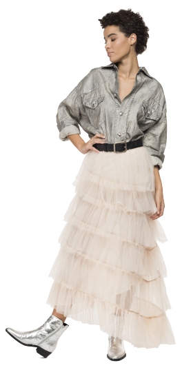 LONG TULLE SKIRT WITH FRILLS