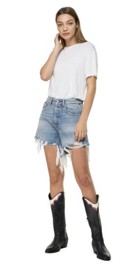 Used denim shorts with fringes