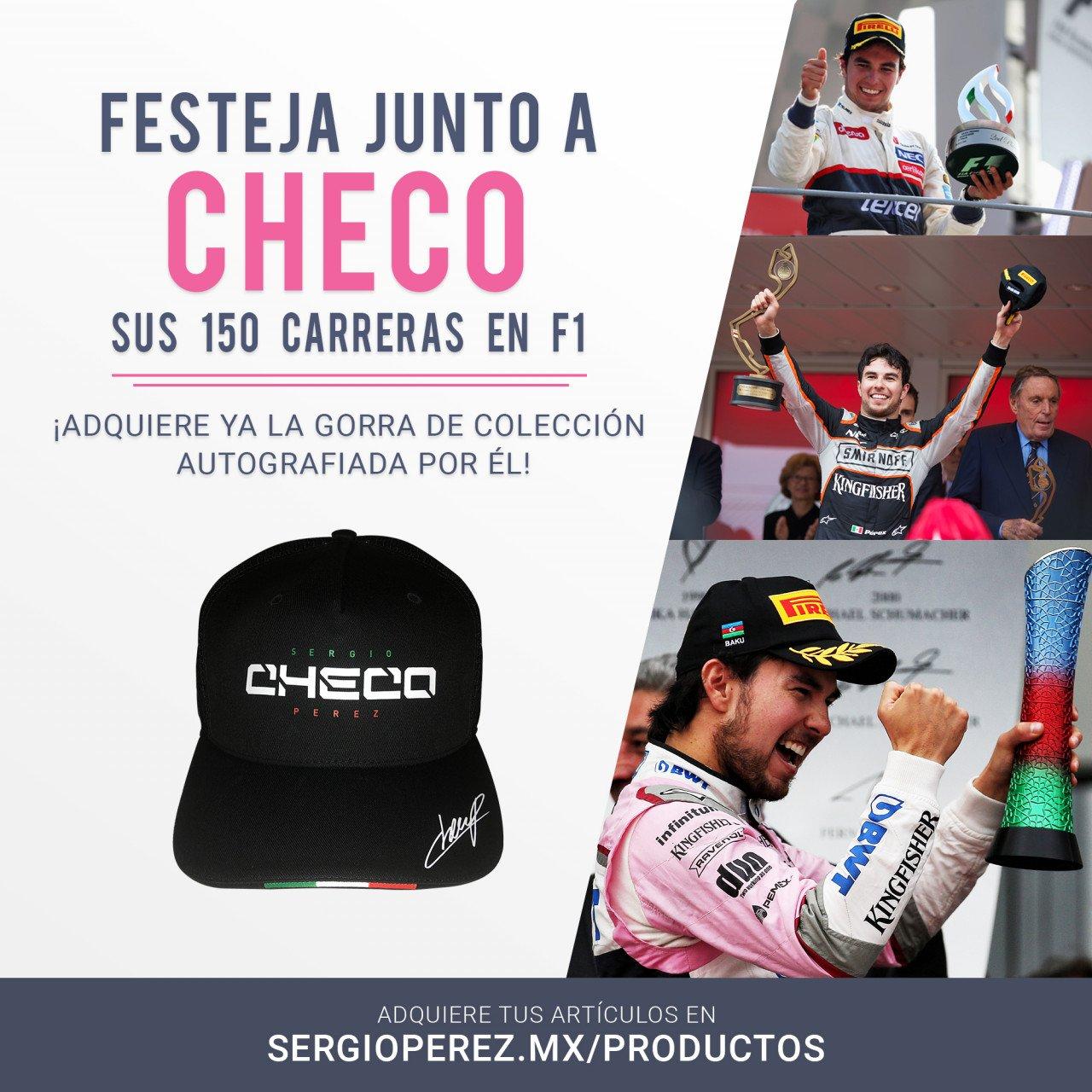 Gorra Checo Pérez 2018 autografiada por él
