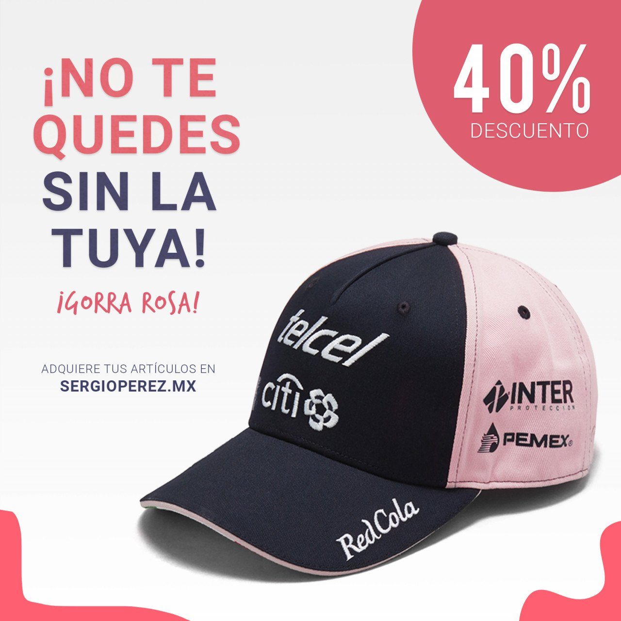 Gorra Checo Pérez Rosa 2018 / 2018 Checo Perez Pink Cap