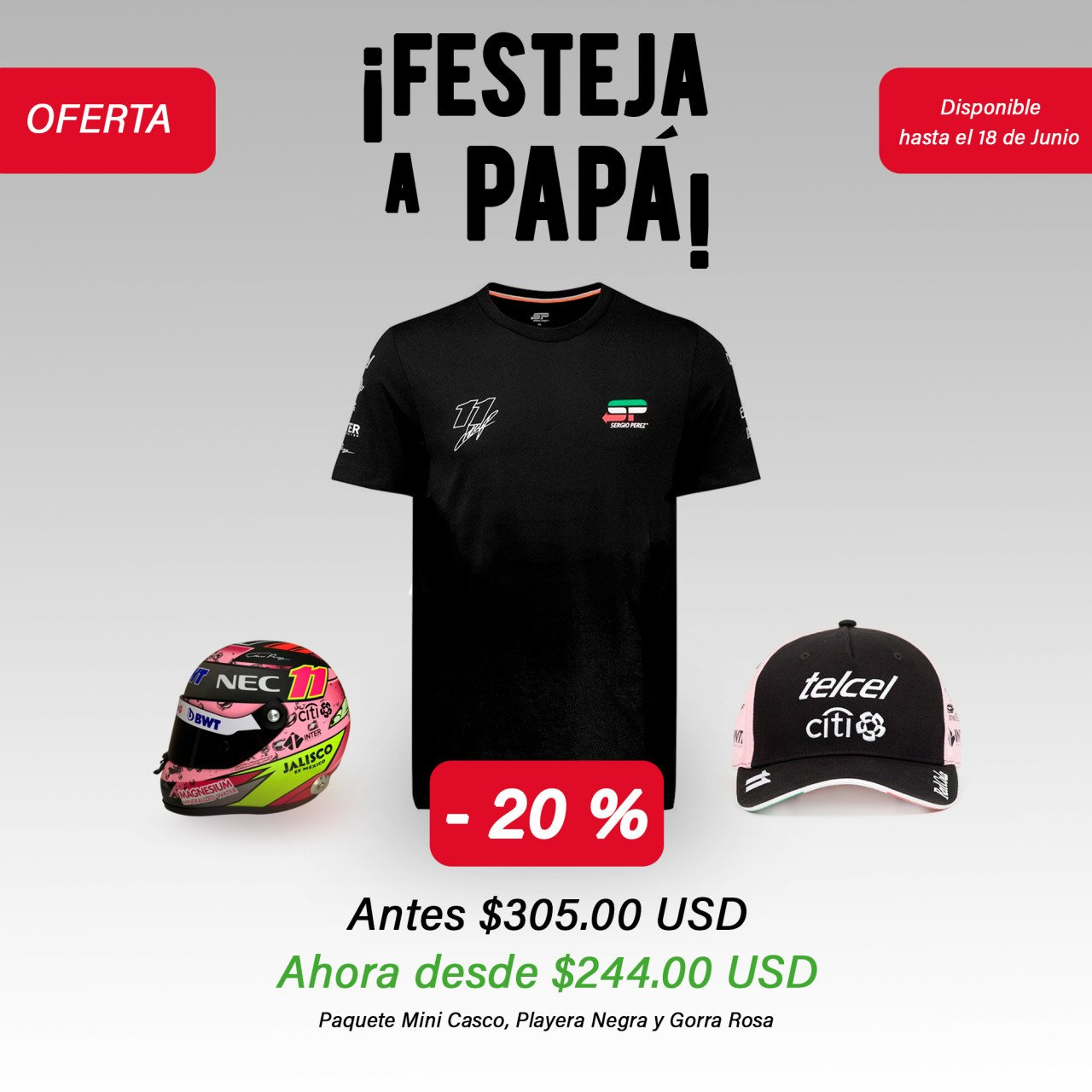 KIT Mini-Casco, Playera Negra y Gorra Rosa