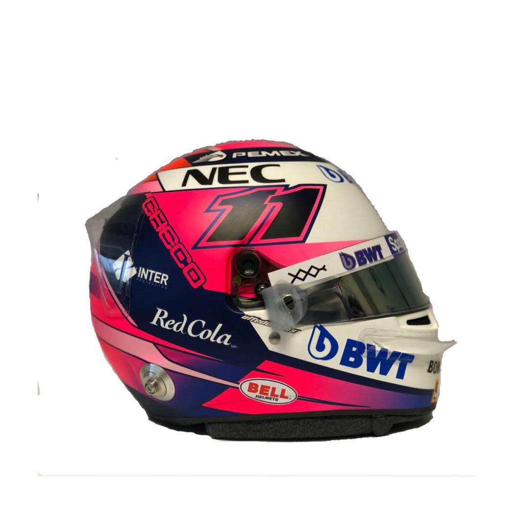 Réplica original  del casco 2019 autografiada por Checo Pérez