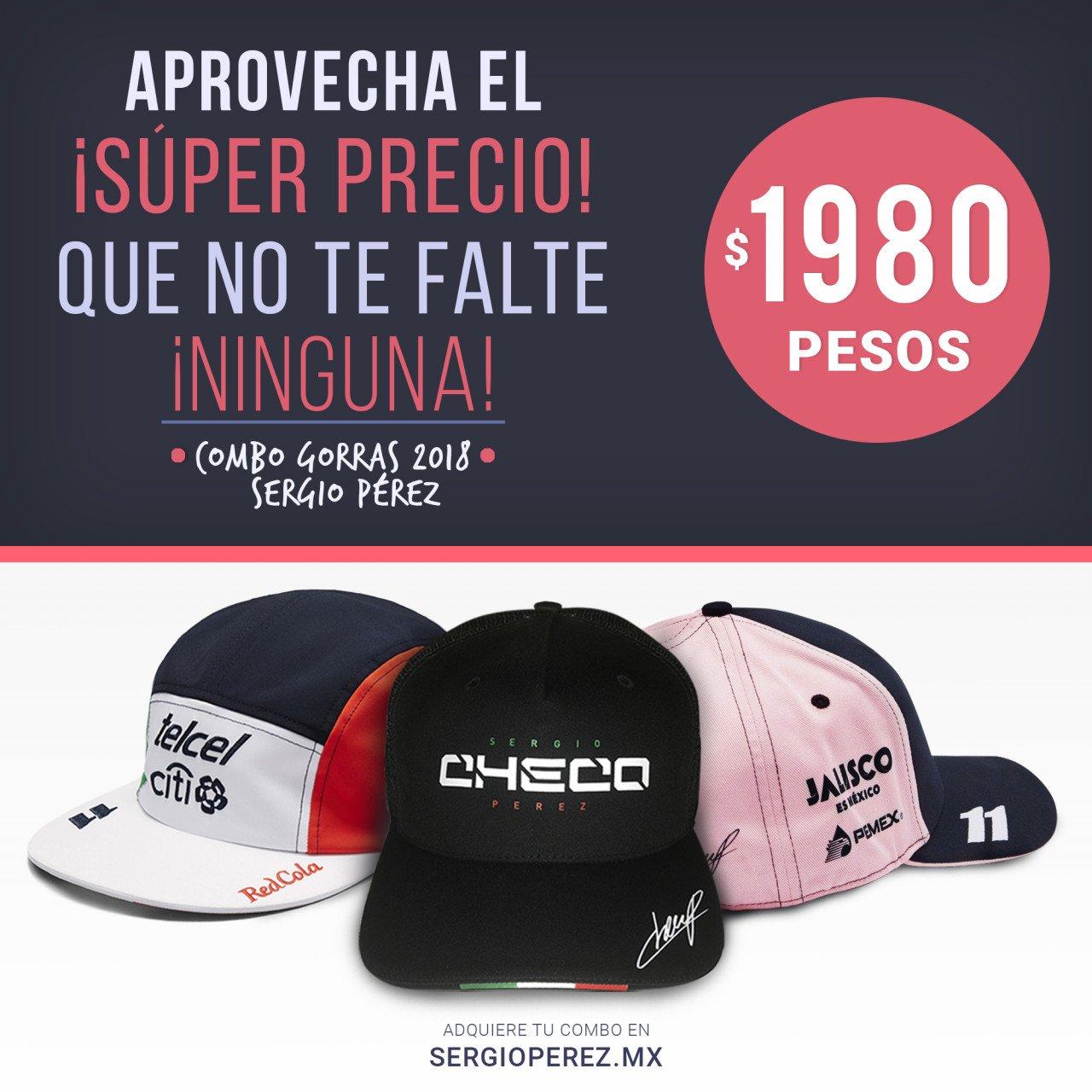 Gorras Checo Pérez 2018 a un Súper Precio