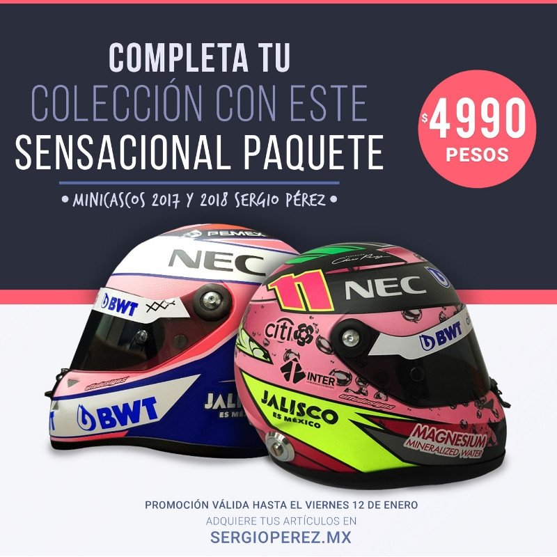 Mini helmets Sergio Perez 2017 y 2018