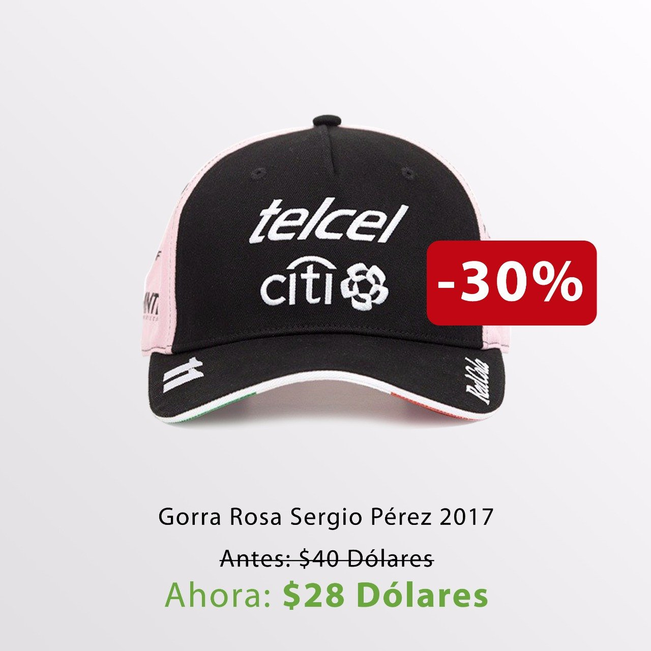 Gorra Checo Pérez Rosa 2017 / 2017 Checo Perez Pink Cap