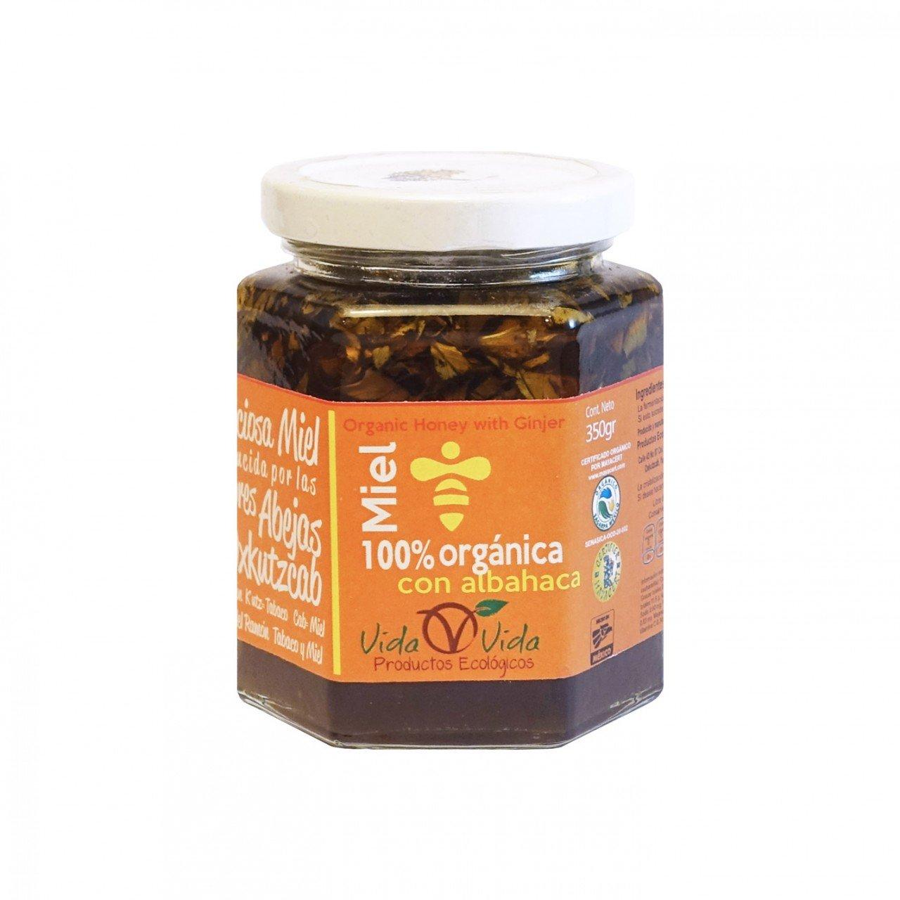 Miel de abeja orgánica con albahaca 350 gr
