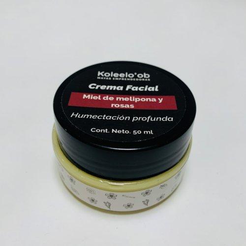 Crema facial de miel melipona y rosas 50 g