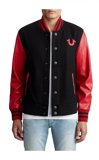 MENS VEGAN LEATHER VARSITY JACKET