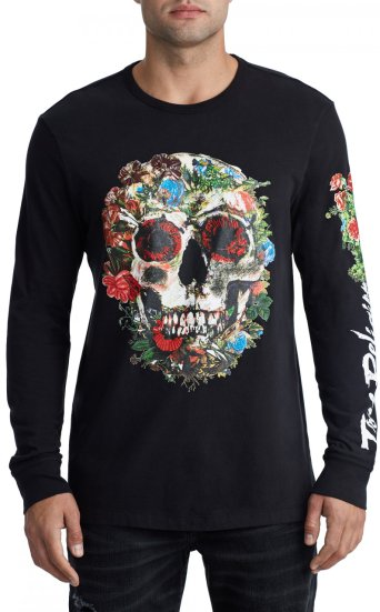 SKULL BLOOM LS CREW NECK TEE
