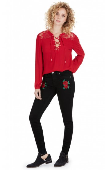 SUPER SKINNY W ROSE EMBROIDERY